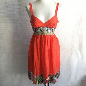 Johnny Was S 100% Silk Dress Embroidered Babydoll